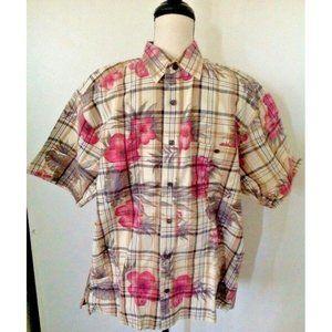 Orvis Hawaiian Shirt Sz L Floral Button Front